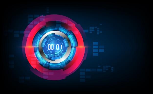 Абстрактный футуристический фон технологии с концепцией цифрового таймера и обратного отсчета Premium векторы