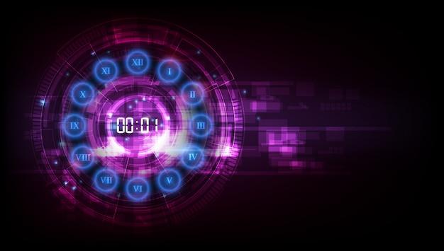 デジタル番号タイマーの概念とカウントダウン抽象的な未来的な技術の背景 Premiumベクター