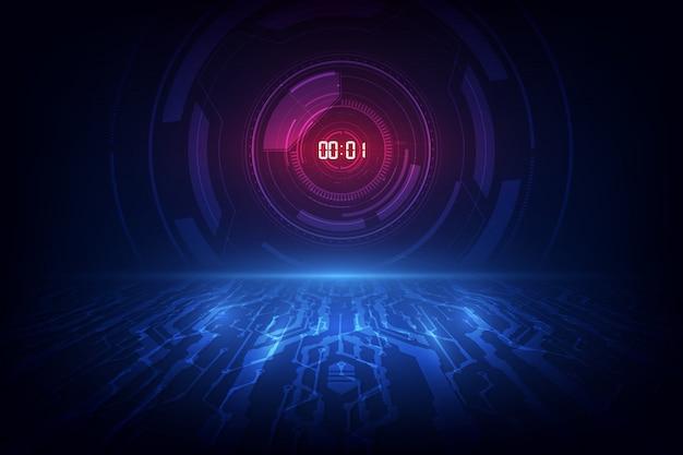 デジタル番号タイマーの概念とカウントダウン抽象的な未来的な技術の背景。 Premiumベクター