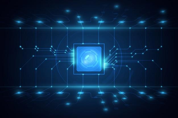 Вектор предпосылки технологии иллюстрации монтажной платы предпосылки процессора обломока абстрактной технологии голубой. Premium векторы