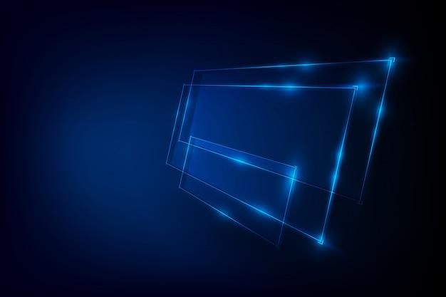 青いネオンバナーと抽象的な背景 Premiumベクター