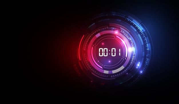 デジタル数字タイマー概念とカウントダウンで未来技術の背景を抽象化、ベクトル透明 Premiumベクター