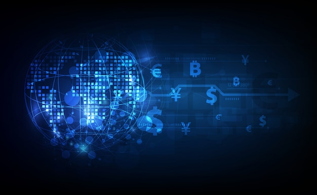 送金。グローバル通貨。証券取引所。株式。 Premiumベクター