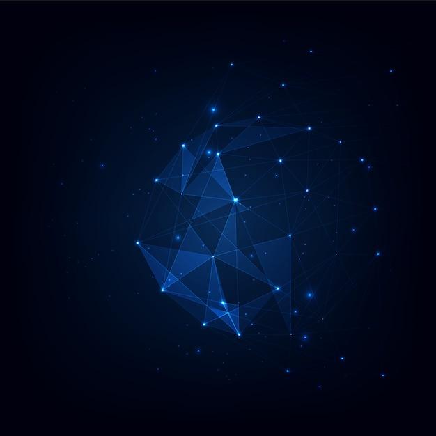 Векторный фон связанных сплетений полигонов, визуализация данных фоновых сплетений связанных полигонов. векторная иллюстрация Premium векторы