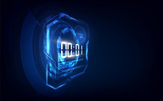 デジタル数字タイマーとカウントダウンと抽象的な未来技術の背景 Premiumベクター