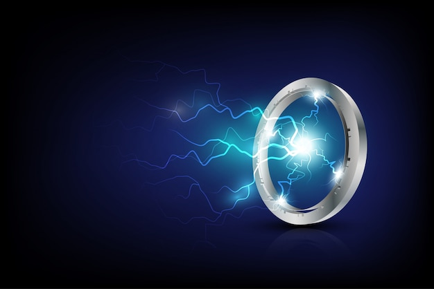Технологическое и научное обоснование с молниями Premium векторы