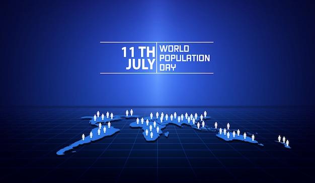 世界人口デーのバナーまたはポスター Premiumベクター
