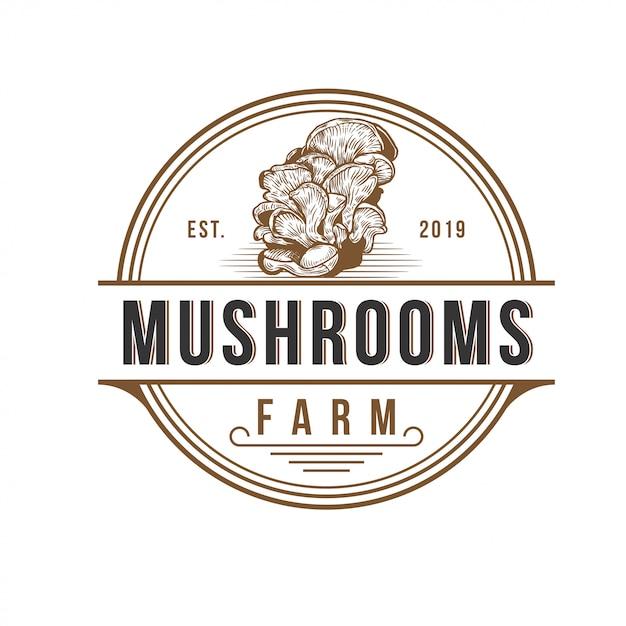 キノコ農場のロゴデザインベクトルテンプレート Premiumベクター