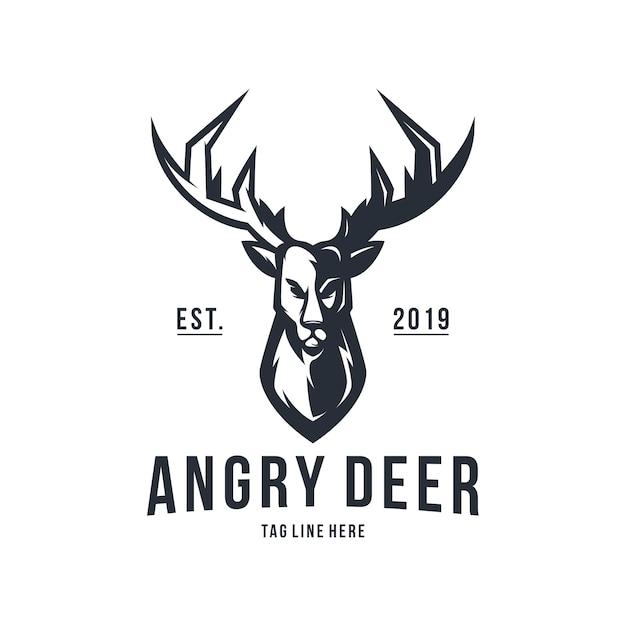怒っている鹿ビンテージロゴデザインベクトルテンプレート Premiumベクター