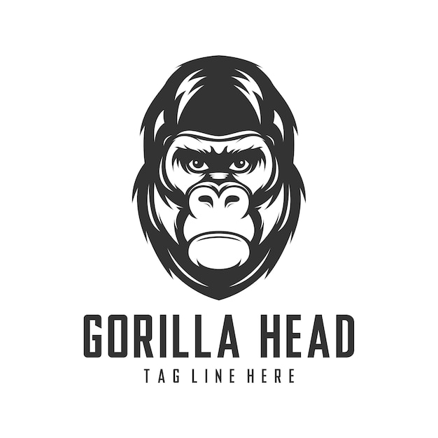 Векторный шаблон дизайна логотипа головы гориллы Premium векторы