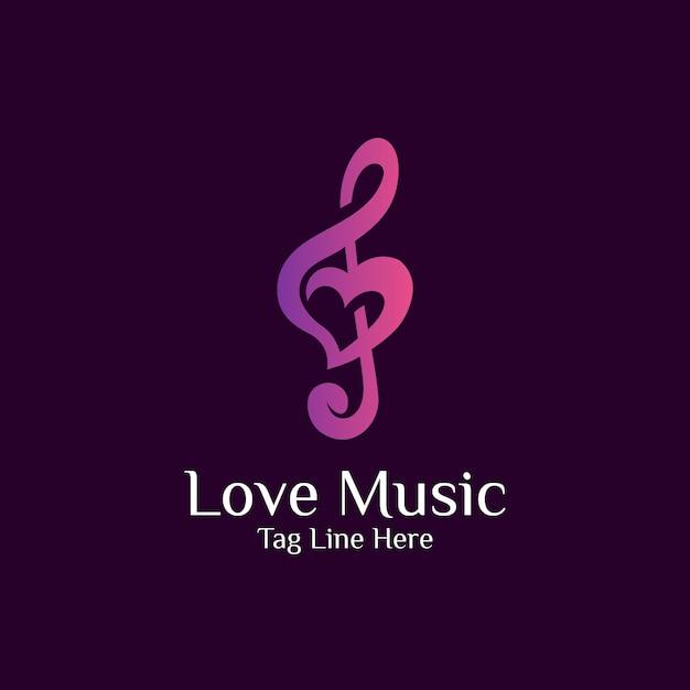愛と音楽の組み合わせのロゴデザイン Premiumベクター
