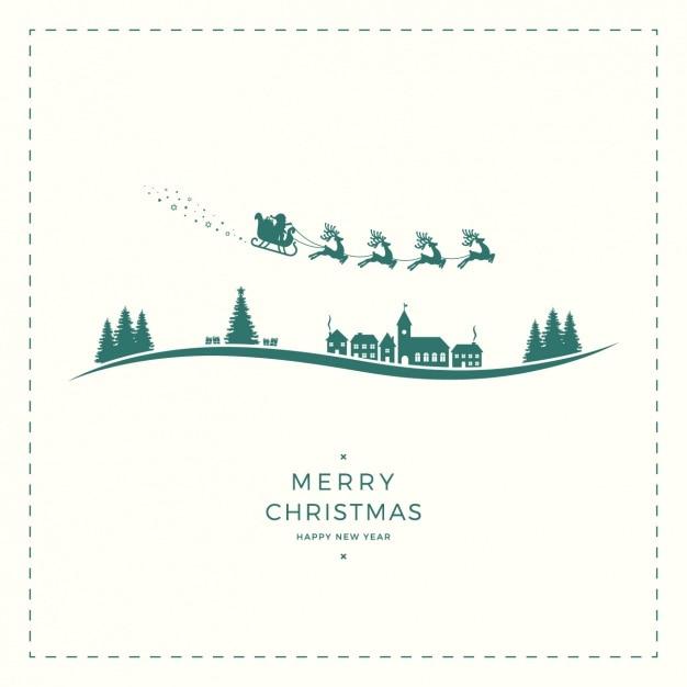 クリスマスシルエットとファンタスティック背景 無料ベクター