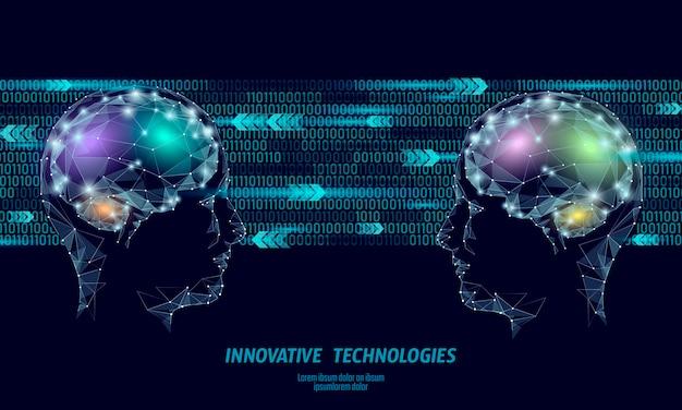 Низкая поли абстрактный мозг концепция виртуальной реальности. Premium векторы