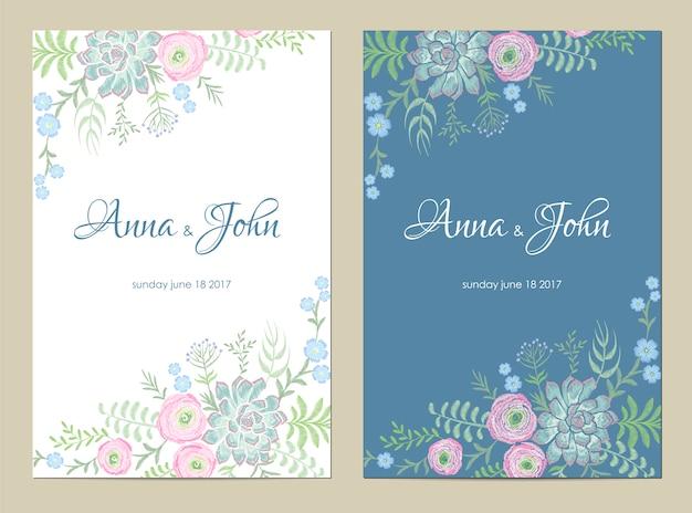 繊細な花の結婚式の招待状。日付グリーティングカードの花のデザインを保存します。ラナンキュラスローズ多肉ヴィンテージ刺繍テンプレート Premiumベクター
