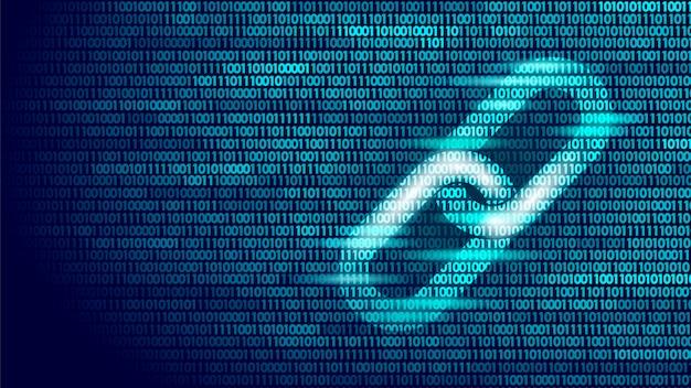 バイナリコード番号ビッグデータフロー上のブロックチェーンハイパーリンクシンボル Premiumベクター