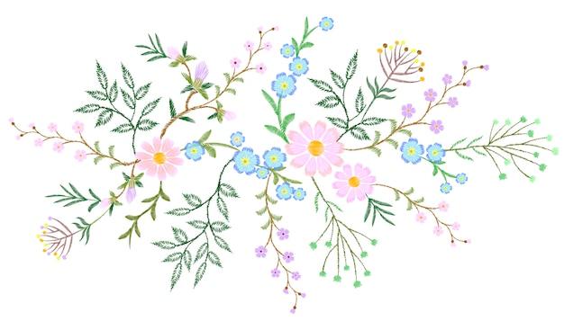 Вышивка белым кружевом с цветочным узором веточки дикой травы Premium векторы