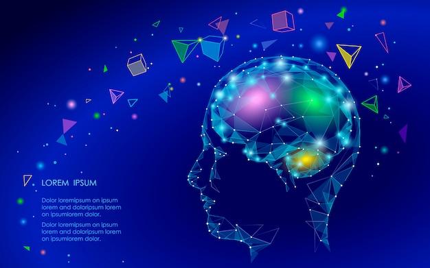 Низкая поли абстрактная концепция виртуальной реальности мозга, геометрические многоугольники Premium векторы