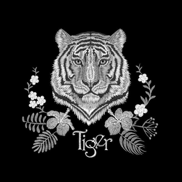 Белая вышивка, реалистичная текстура тигра, накладка на лицо. модный цветочный принт, текстиль Premium векторы