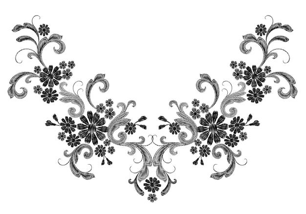 Реалистичная белая векторная вышивка мода симметричный патч. цветок розы ромашки листья винтаж Premium векторы