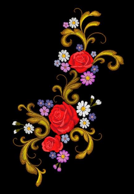 Реалистичная векторная вышивка модной нашивки цветочная роза ромашки Premium векторы