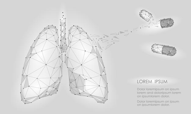人間の内臓肺薬治療薬。低ポリ技術 Premiumベクター