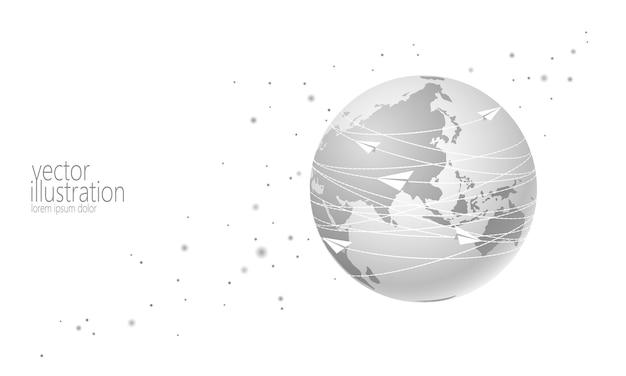 Планета земля с бумажным фоном Premium векторы