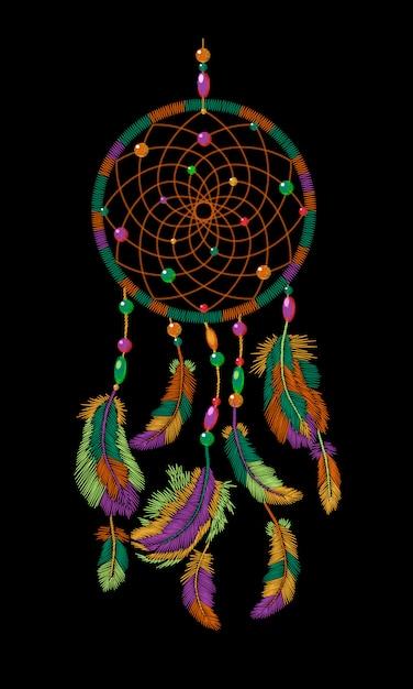 Вышивка бохо индейским индейским ловцом снов перьями, Premium векторы