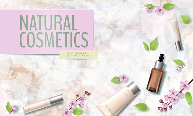 春のセール桜のオーガニック化粧品の広告テンプレート。 Premiumベクター