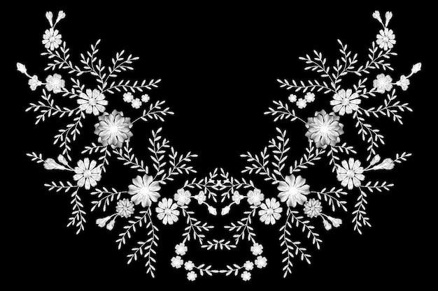Черно-белая монохромная полевая цветочная вышивка. Premium векторы