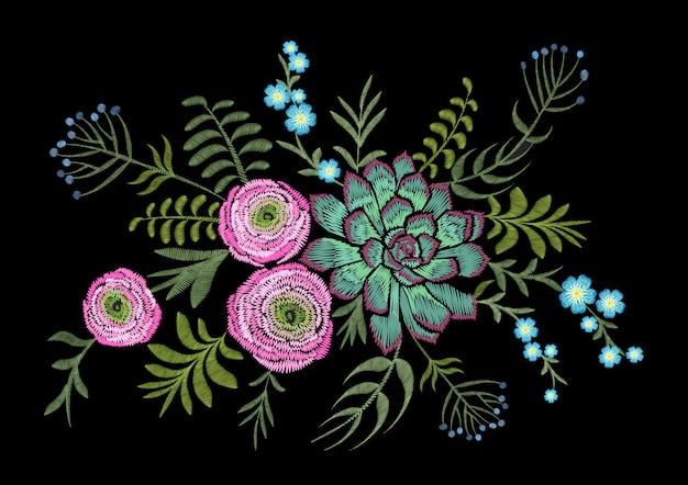 繊細なピンクのラナンキュラスはハーブフィールドの花を多肉植物。 Premiumベクター