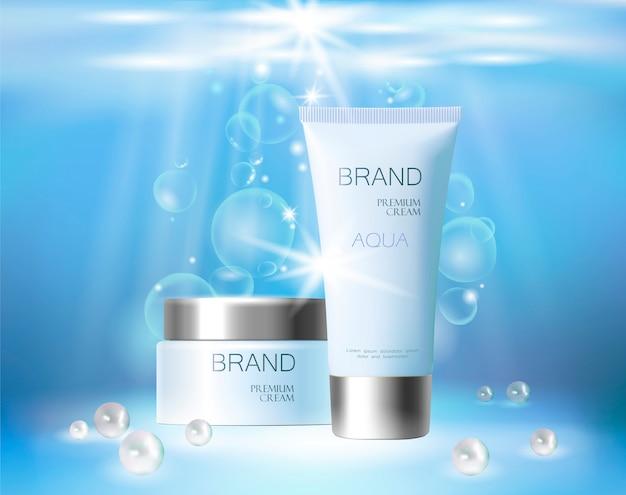 アクアスキンケアクリーム化粧品。クリームまたは化粧品の現実的な包装 Premiumベクター