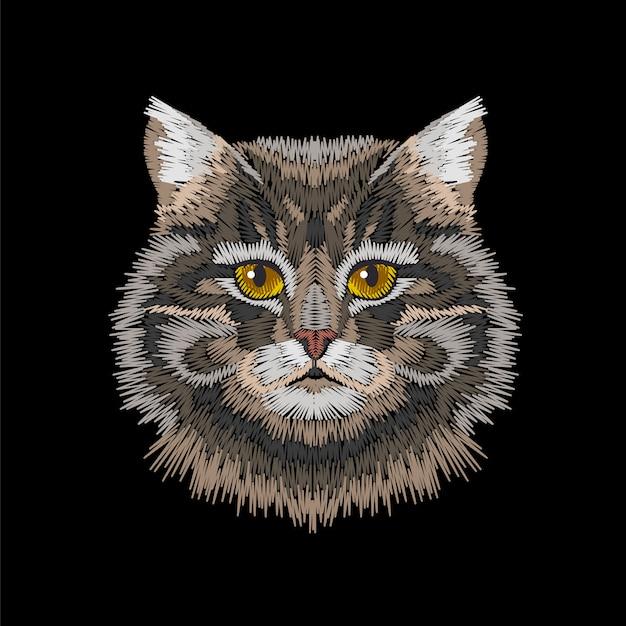 茶色灰色の縞模様の猫の目の顔の頭。 Premiumベクター