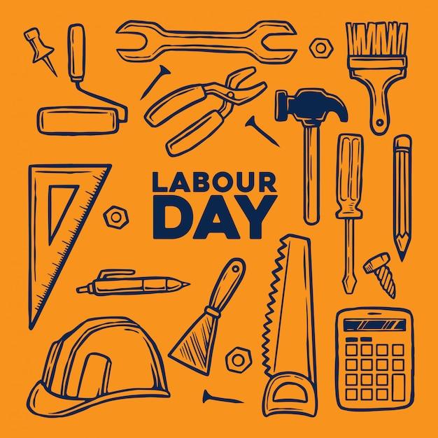 手描きのツールを持つ労働者の日の要素 Premiumベクター