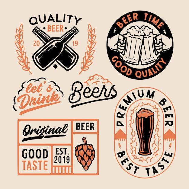ロゴビールのセット Premiumベクター