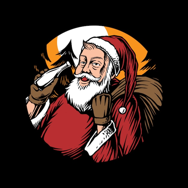 サンタと贈り物のイラスト Premiumベクター