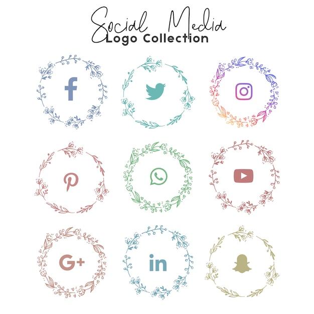 ソーシャルメディアサマーのロゴとアイコンのコレクション Premiumベクター