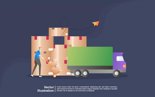 Иллюстрация концепция распределения логистики. доставка на дом и в офис. городская логистика. Premium векторы