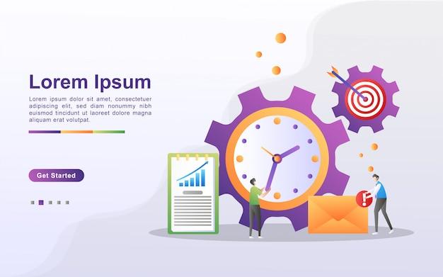 Концепция управления временем. бизнесмен делит время на личное и деловое. составьте приоритетный график и составьте план. можно использовать для веб-целевой страницы, баннера, флаера, мобильного приложения. Premium векторы