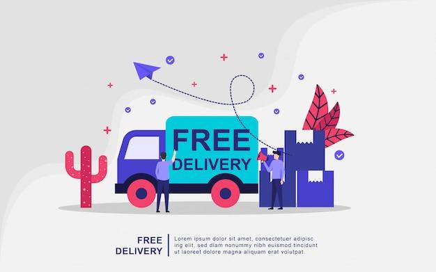 Иллюстрация концепции бесплатной доставки Premium векторы