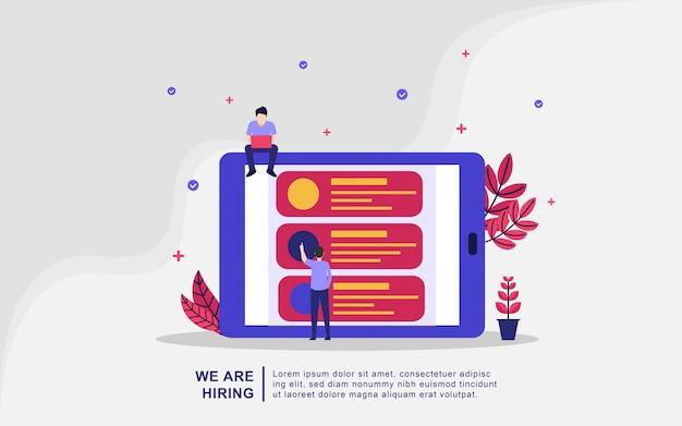 Мы нанимаем иллюстрации концепции. работа агентства по подбору персонала творческий поиск опыта Premium векторы