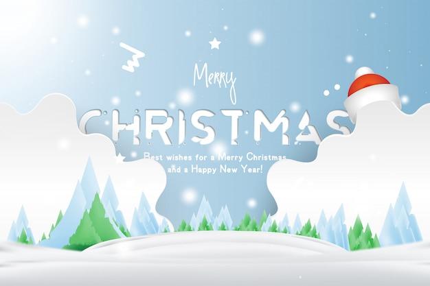 光沢のあるクリスマスの光と星のある冬景色の背景に赤い帽子のクリスマスと新年のタイポグラフィ。 Premiumベクター