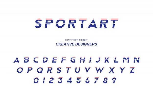 スポーツオリジナルの太字フォントのアルファベット文字と数字 Premiumベクター
