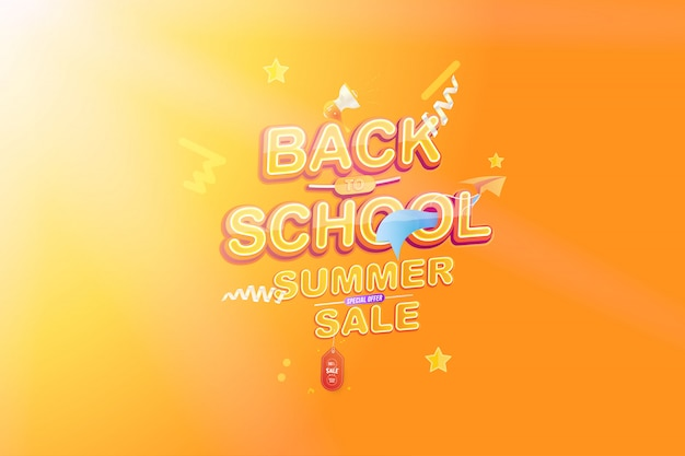 学校に戻る夏のセール Premiumベクター