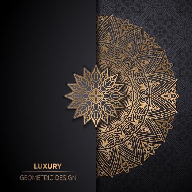 Роскошный орнамент мандалы дизайн фон в золотой цвет Бесплатные векторы