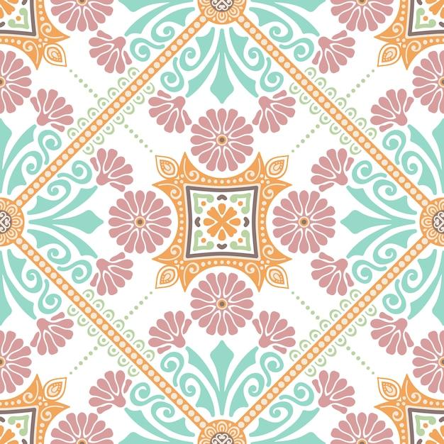 装飾タイルパターンのデザイン。ベクトル図。 無料ベクター