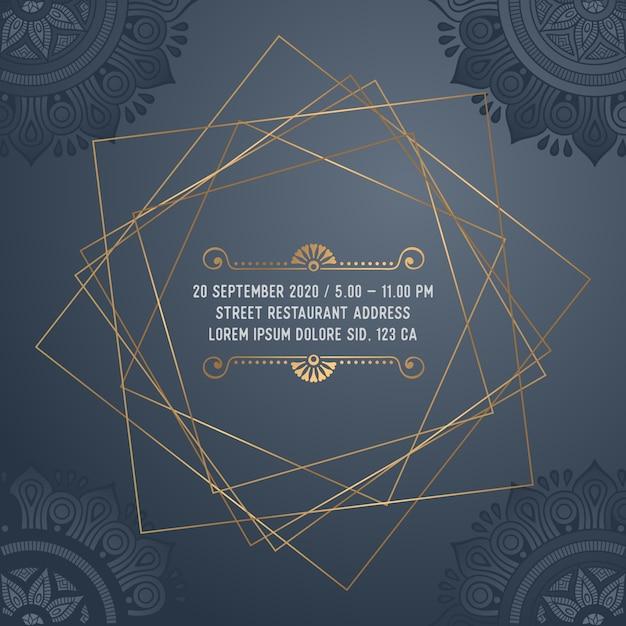 ベクトル豪華な結婚式の招待状 無料ベクター