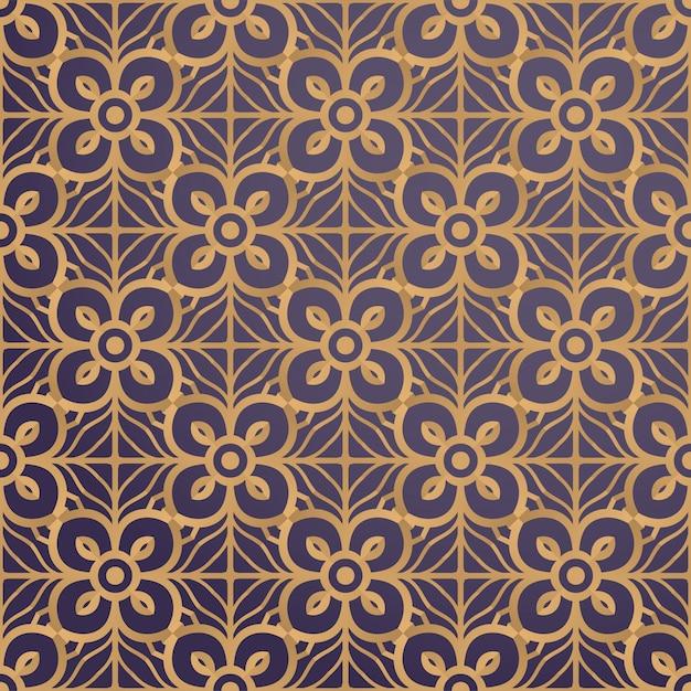 金色の豪華な装飾的な曼荼羅のデザインの背景 Premiumベクター
