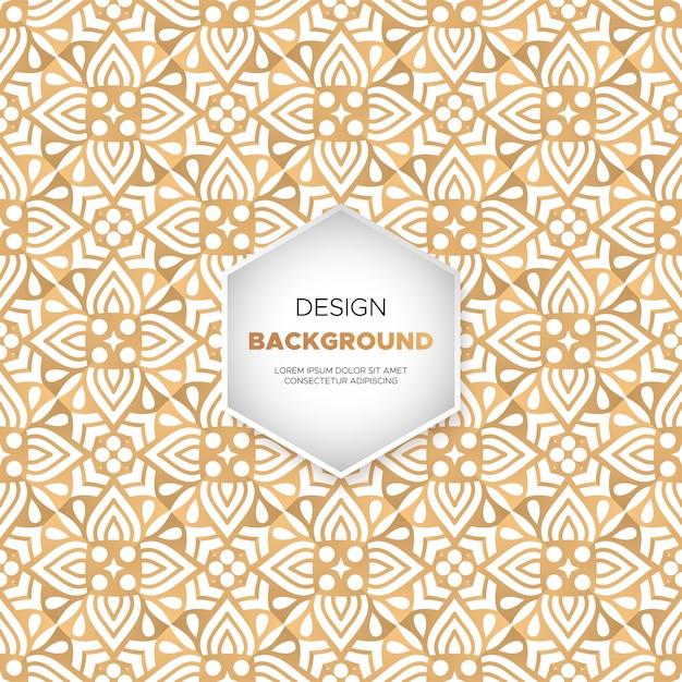 ゴールドカラーベクトルで豪華な装飾的な曼荼羅のデザインの背景 無料ベクター
