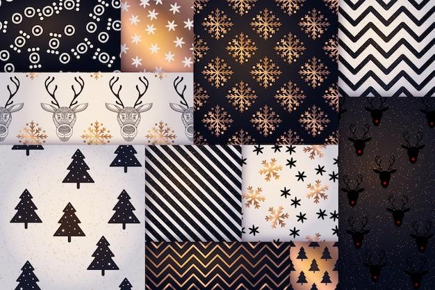 クリスマスパターン、幸せな冬休日のタイルの背景 無料ベクター