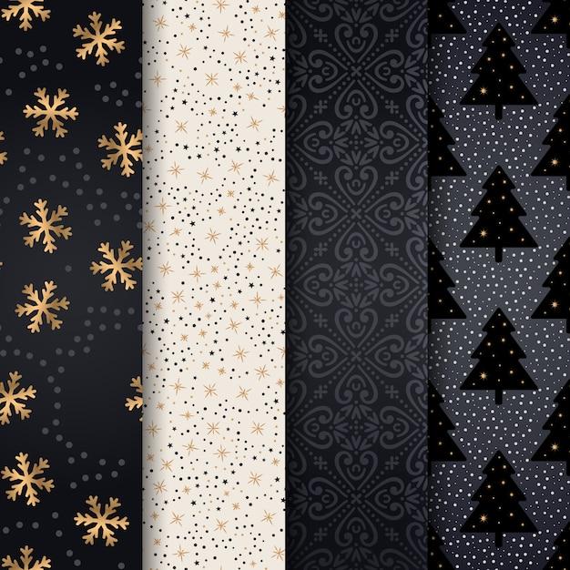クリスマスパターン、幸せな冬休日のタイルの背景 Premiumベクター